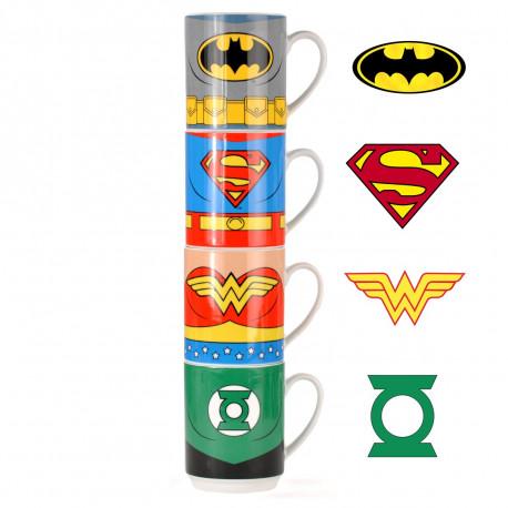 Lot de quatre tasses DC Comics représentant un personnage différent de la Justice League sur chacune d'entre elles