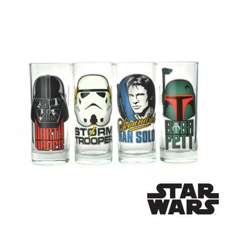 Lot de quatre verres sur chacun un personnage emblématique Star Wars