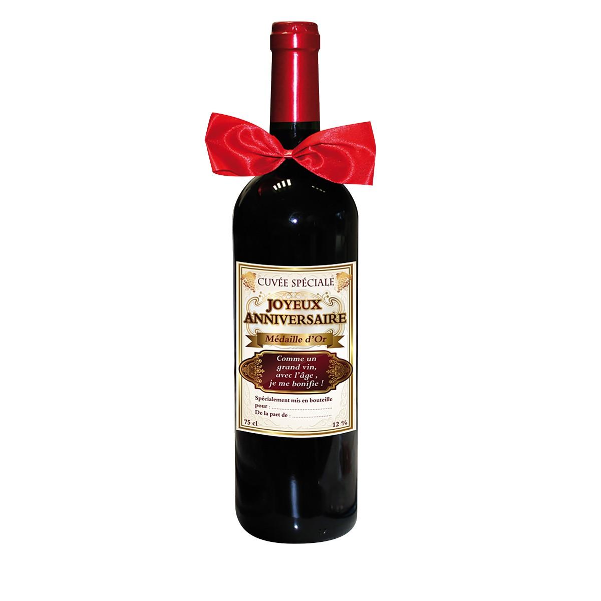 une bouteille de vin humoristique anniversaire offrir un tre cher sur logeekdesign. Black Bedroom Furniture Sets. Home Design Ideas