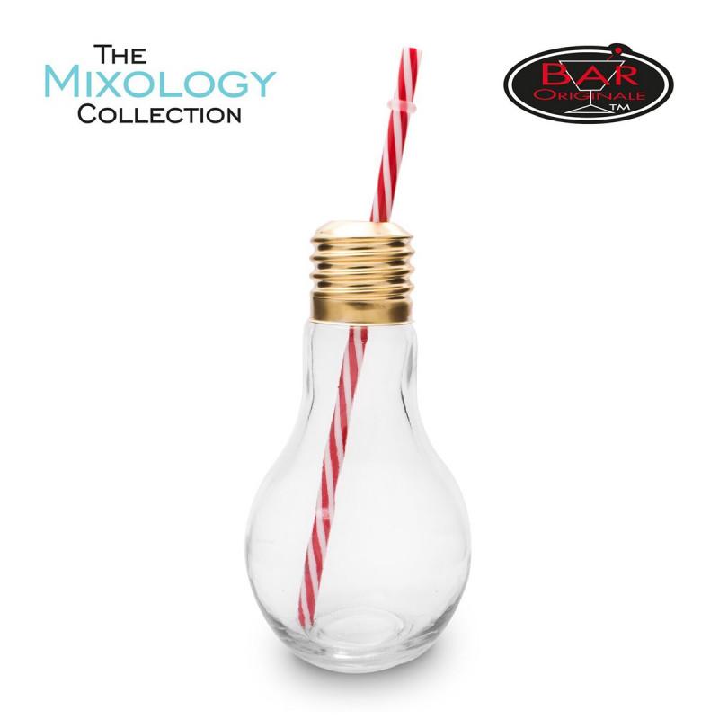 verre cocktail originaux en forme d 39 ampoules avec pailles sur logeekdesign. Black Bedroom Furniture Sets. Home Design Ideas