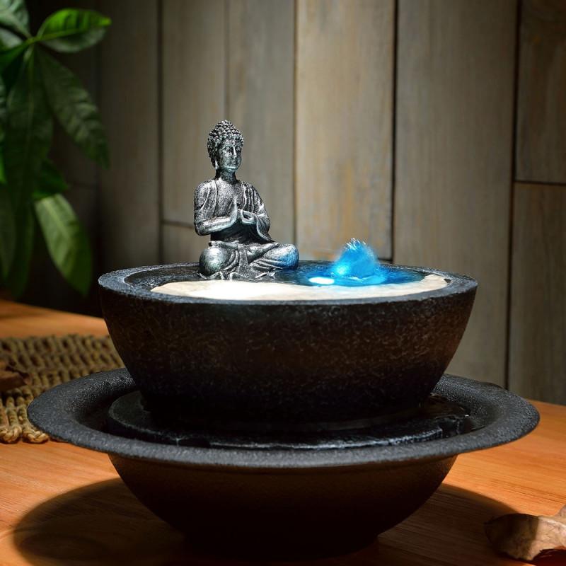 fontaine zen yin yang avec une statuette de bouddha sur logeekdesign. Black Bedroom Furniture Sets. Home Design Ideas