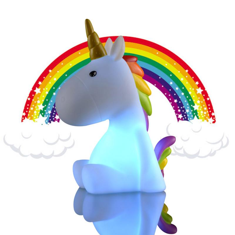 Veilleuse licorne avec corne dor e et cr te multicolore - Bracelet arc en ciel ...