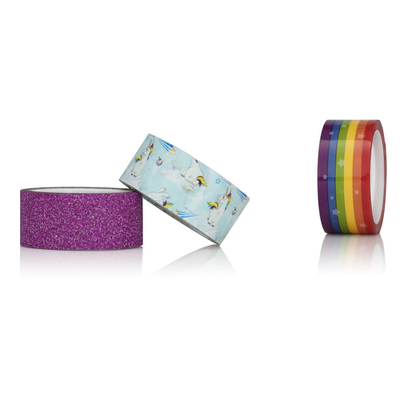 rouleau adh sif original avec motif licorne arc en ciel et rose paillet sur logeekdesign. Black Bedroom Furniture Sets. Home Design Ideas