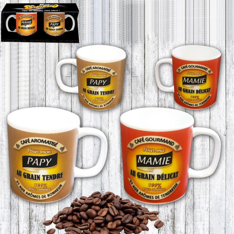 Deux À Mamieamp; Logeekdesign Café Expresso Lot De Sur Papy Tasses Pour 4Rqc5jL3AS