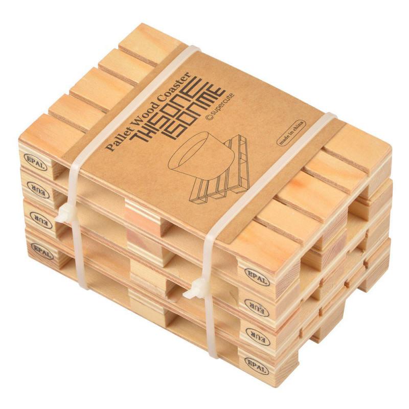 4 sous verres originaux en forme de mini palettes en bois. Black Bedroom Furniture Sets. Home Design Ideas