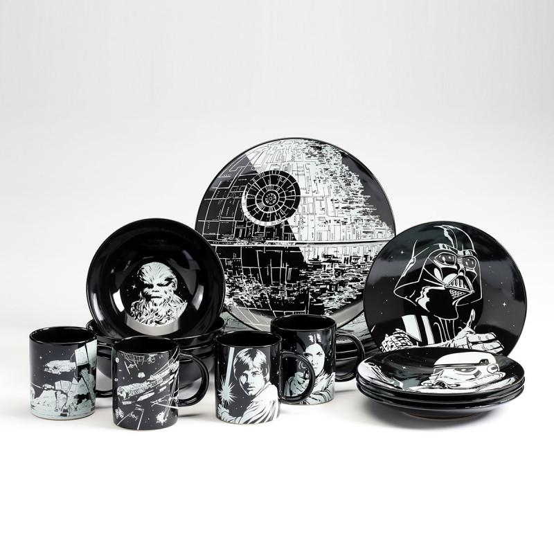 lot de vaisselle star wars 16 pi ces en c ramique noire et blanche sur logeekdesign. Black Bedroom Furniture Sets. Home Design Ideas