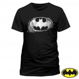 T-Shirt Batman Noir Logo Effet Craie