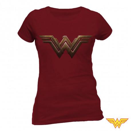 T-Shirt Wonder Woman Femme Bordeaux