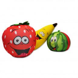 Coussins Microbille Fruits - Lot de 3