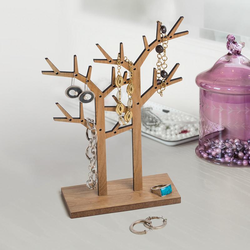 support bijoux en bois imitation en forme d arbre coloris ch ne sur logeekdesign. Black Bedroom Furniture Sets. Home Design Ideas