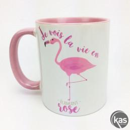 Mug Je Vois la Vie en Flamant Rose
