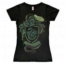 T-Shirt Femme Harry Potter Noir Armoiries de Serpentard