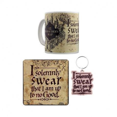 Set Harry Potter Carte du Maraudeur - Mug, Sous-Verre et Porte-Clés
