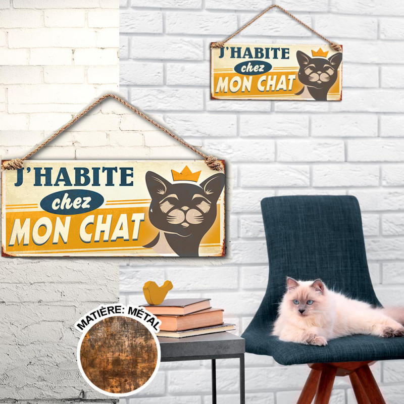 plaque m tallique j 39 habite chez mon chat sur logeekdesign. Black Bedroom Furniture Sets. Home Design Ideas