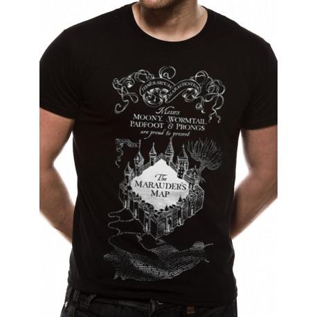 T-Shirt Harry Potter Noir Carte du Maraudeur