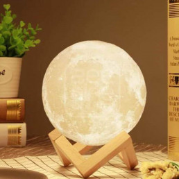 Lampe Lune Multicolore Usb sur Support en Bois