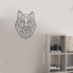 Loup Mural Décoratif en Bois