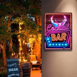 Plaque Métallique Cocktail Bar Effet Néon