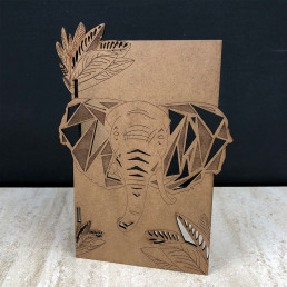 Carte Éléphant Personnalisable en Bois