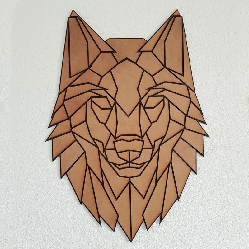 Loup Mural Puzzle Graphique en Bois