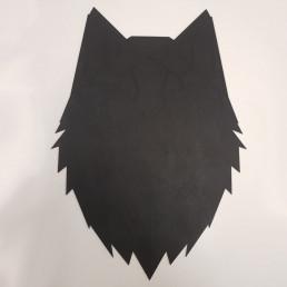 Loup Mural Puzzle Noir en Bois