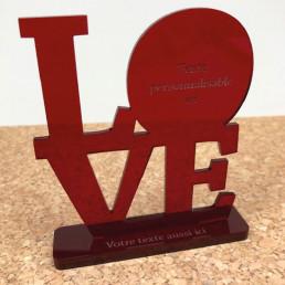 Trophée Love Rouge Personnalisable