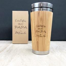 Mug de Voyage Bois Personnalisable Certifié Meilleur Papa