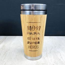 Mug de Voyage Super-Héros Papa en Bois