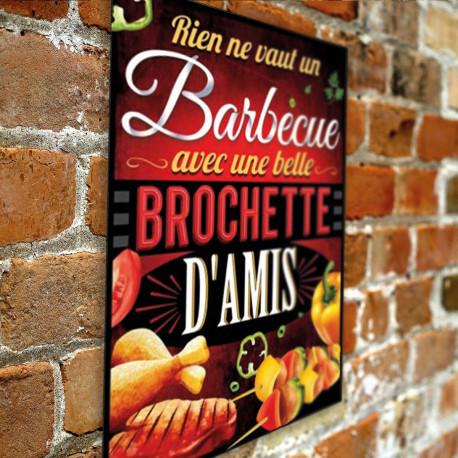 Plaque Métallique Barbecue Brochette d'Amis