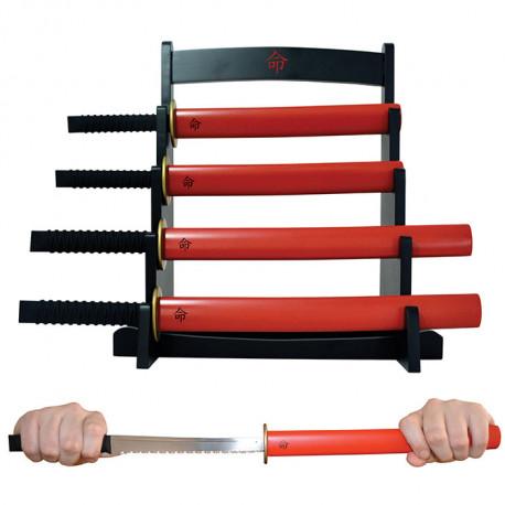 Un set de couteaux de cuisine représentant des sabres samourais