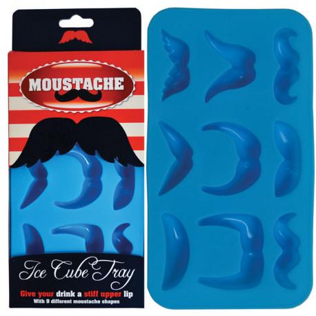 Ce moule en silicone comporte 9 emplacements pour neuf mini glaçons moustachus