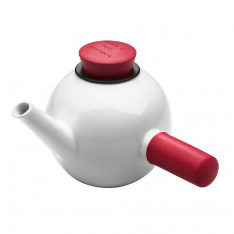 Théière QDO blanc en porcelaine avec poignée et bouchon de plusieurs couleurs