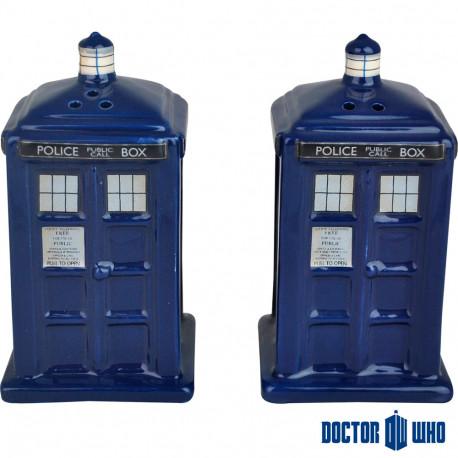 Salière et Poivrière Tardis en céramique Dr Who