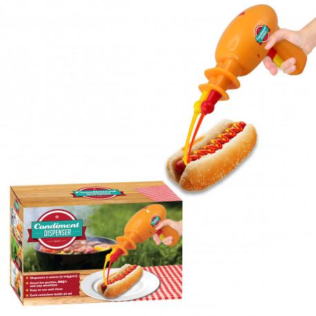 Ce gadget insolite en forme de pistolet vous permet une distribution de sauces des plus rigolotes ! Rendez vos barbecues plus funs avec ce pistolet à barbecue double sortie !