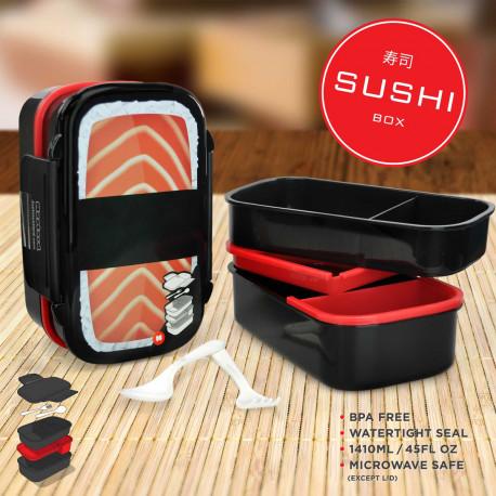 Cette Bento Box pleine de charme et d'originalité prend la forme d'un méga sushi… Disposant de nombreux emplacements et de couverts, cette boîte renferme cinq compartiments dans lesquels vous pourrez disposer tout votre repas !