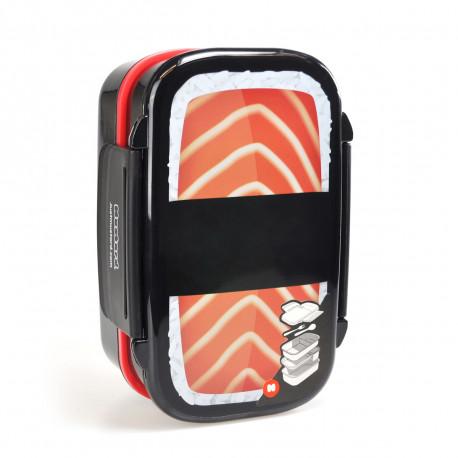 Lunch box qui prend la forme d'un méga sushi enroulé de riz avec 3 compartiments