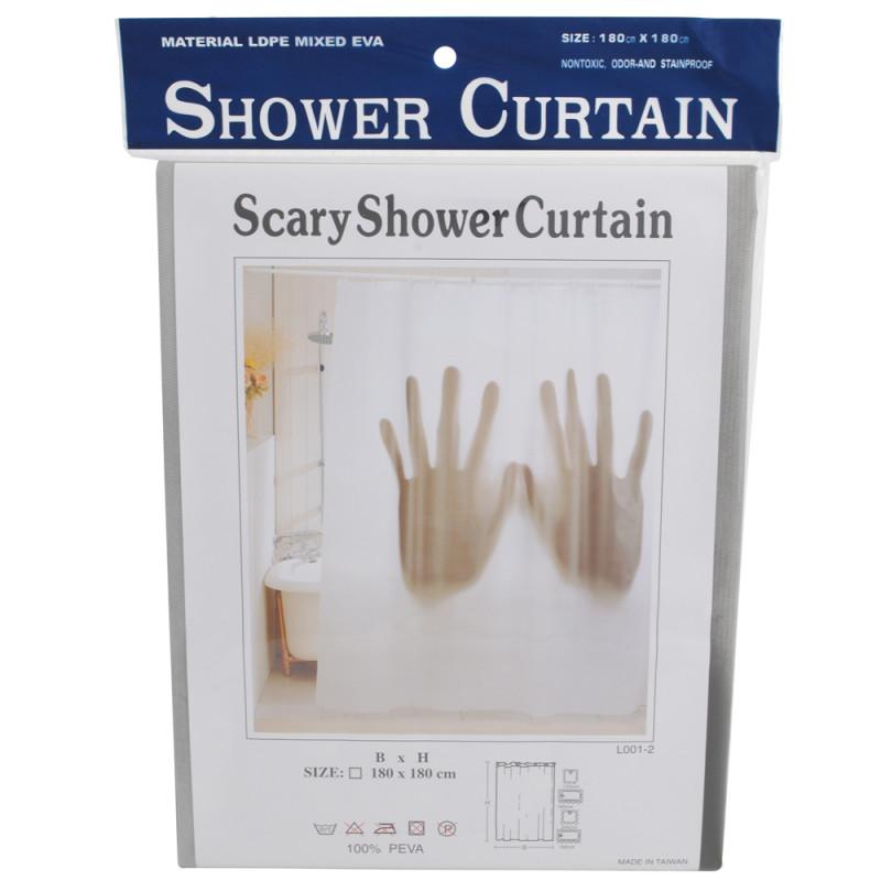 Rideau de douche scary cadeau insolite sur logeekdesign - Rideau de douche insolite ...