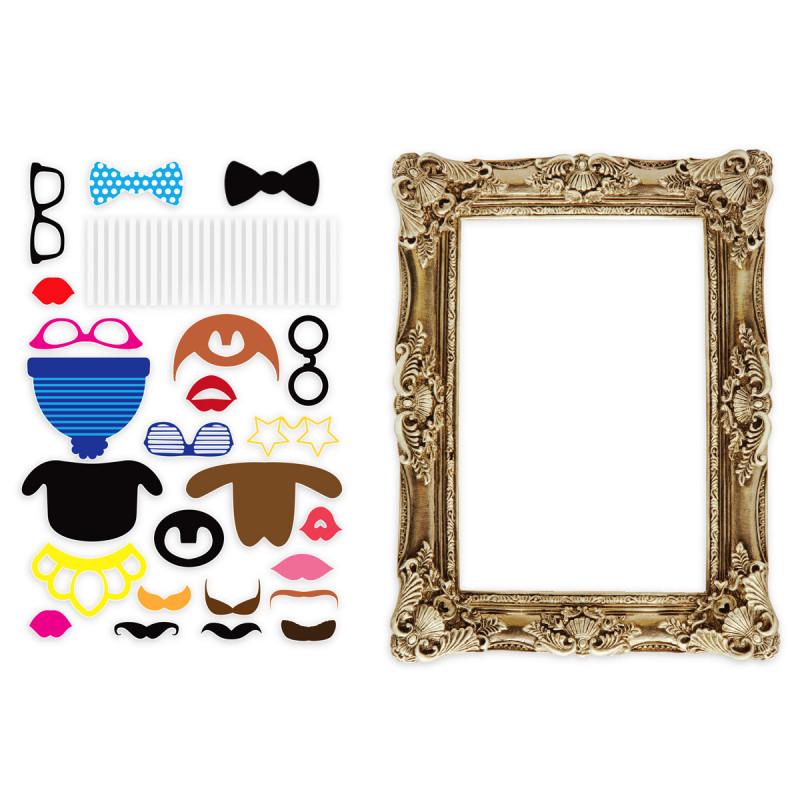 coffret d 39 accessoires pour photo avec cadre cadeau insolite mariage sur. Black Bedroom Furniture Sets. Home Design Ideas