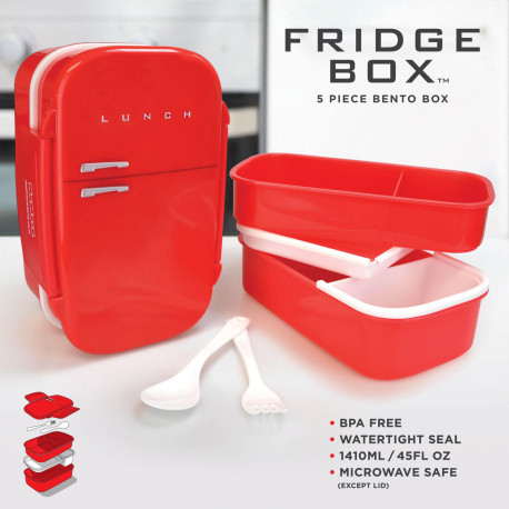 Lunch box avec l'apparence d'un mini frigo de couleur rouge
