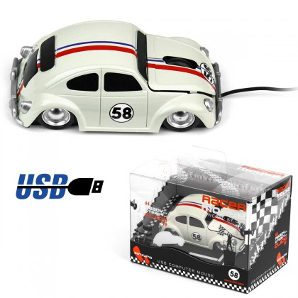 Une souris USB en forme de voiture de course