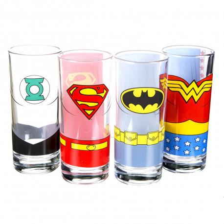 Lot de quatre verres Justice League ( Wonder Woman, Superman, Batman et Green Lantern