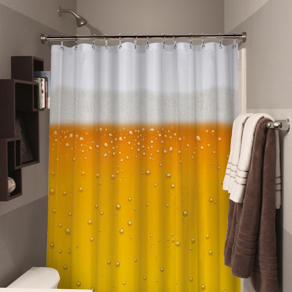 rideau de douche bi re cadeau insolite salle de bains sur. Black Bedroom Furniture Sets. Home Design Ideas