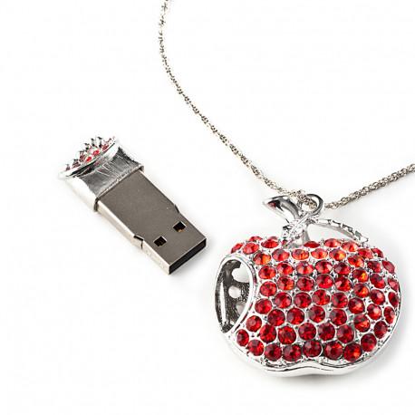 Offrez à votre geekette d'amour une clé usb de 8 Go très pratique cachée à l'intérieur d'une sublime pomme avec strass totalement chic et stylée !