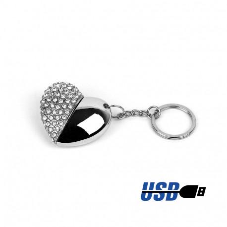 Clé UBS pour fille, en forme de coeur dont un côté est en métal et l'autre en strass avec 8 GB