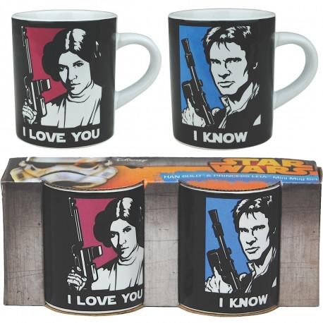 « I love you… I know ! » Cette réplique à deux, culte de la saga Star Wars, est mise en forme sur ces deux mini mugs so geek ! Buvez votre café en amoureux avec chic et geek-attitude à l'aide de ces tasses à expresso Han Solo et Princesse Leia…