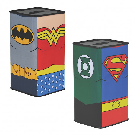 Tirelire métallique Justice League, sur chaque face un super-héros de représenté