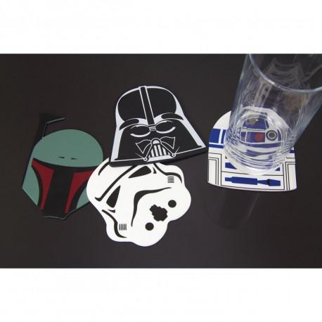 Lot de quatre sous-verres en silicone en forme des masques de R2-D2, Dark Vador, Stormtrooper et Boba Fett