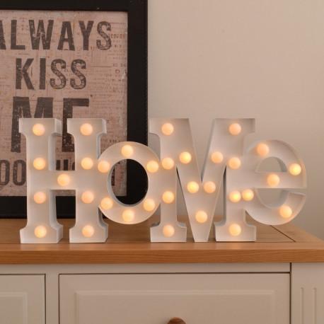 """Lampe design blanc métallique formant le mot """"Home"""" avec les boules leds"""
