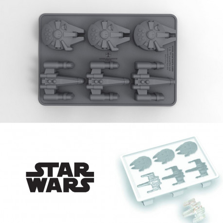 Créez 6 glaçons vaisseaux spatiaux avec ce moule à glaçons Star Wars à l'effigie du Faucon Millenium et du X-Wing