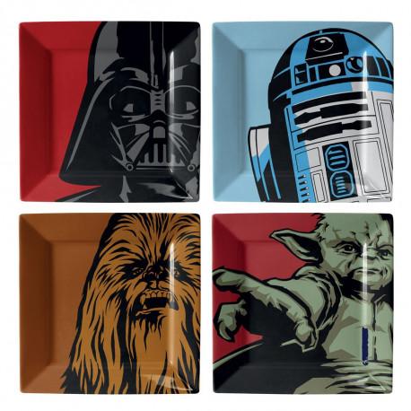 lot de 4 assiettes Star Wars en mélamine ! Chewbacca, Dark Vador, Yoda et R2-D2